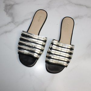 Botkier Marley Metallic Leather Slides sz 7.5